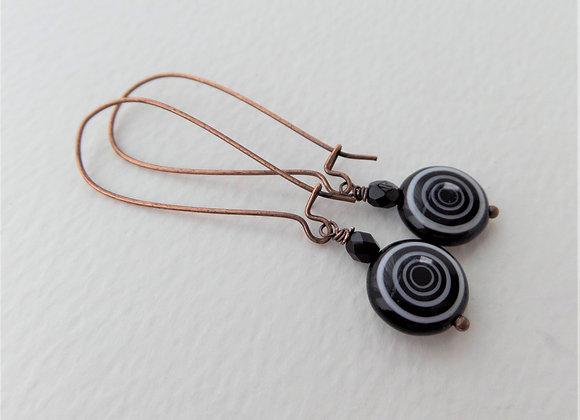Black Monochrome Antique Copper Kidney Wire Earrings
