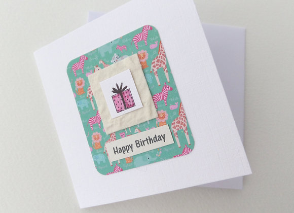 Child's Pink Present Card, Handmade Happy Birthday Card