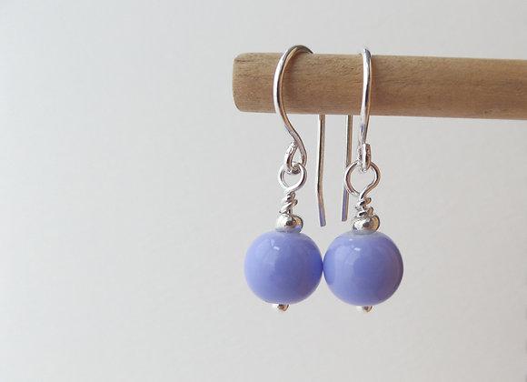 Sterling Silver Lilac Earrings, Purple Dangle Silver