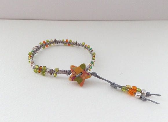 Beaded Bracelet, Green Macrame, Grey Cord Bracelet