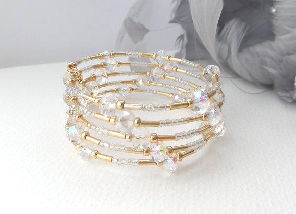 Gold and Crystal Bangle/Bracelet Set