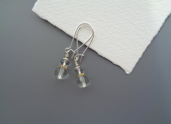 Smooth Clear Glass Mixed Metal Silver Kidney Earrings.