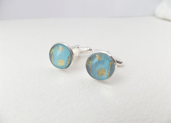 Aqua Cuff Links, Turquoise and Silver Cuff Links, smart unisex cuff links
