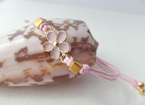 Gold Daisy Bracelet, Pink Enamel, Pink Cord Bracelet