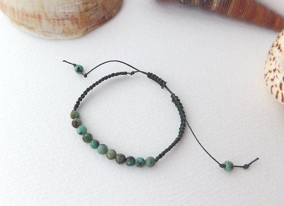 African Turquoise Green Bracelet, Beaded Macrame Cord