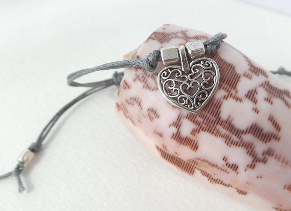 Silver Heart Friendship Bracelet, Grey Cotton Cord Adjustable Bracelet