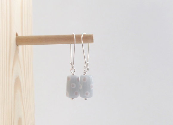 Grey Dotty Earrings, Silver Earrings.