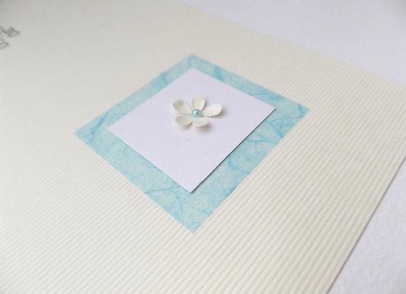 3D Flower Card, Pale Aqua Blue Tiny Flower Card