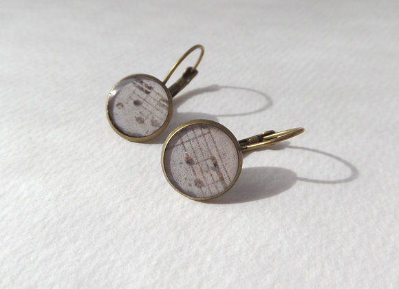 Vintage Sheet Music, Antique Bronze Dangle Earrings