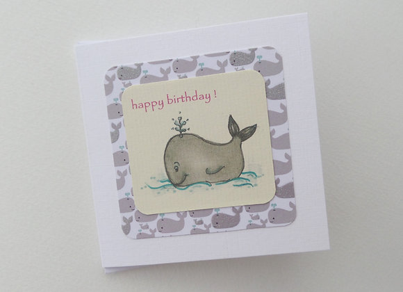 Childrens Birthday Card, Cartoon Whale Card, Handmade Happy Birthday