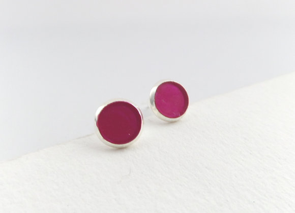 Cerise Pink Silver Studs, Small Round Stud Earrings, 8mm earrings