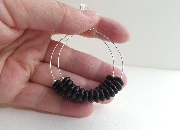 Black Heshi Bead Hoop Earrings, Silver Hook Earrings.