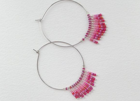 Fringe Hoop Earrings, Red and Pink Silver Earrings