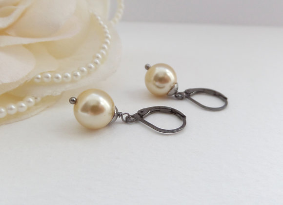 Glass Pearl Earrings, Rich Cream Pearl Drops, Gunmetal Earrings