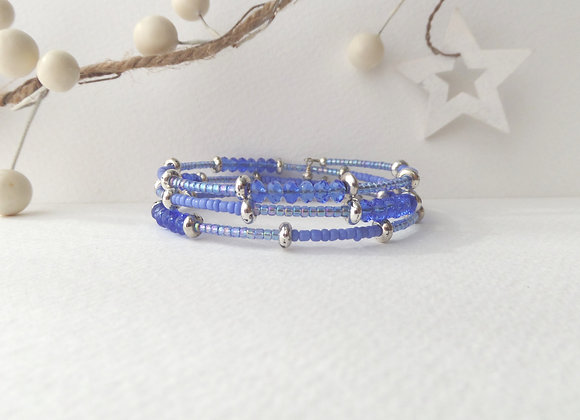 Bright Blue and Tibetan Silver Bangle/Bracelet
