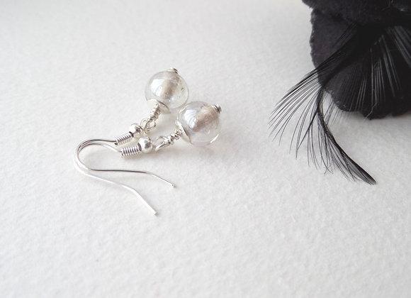 Clear Lustre Silver Earrings, Silver Hook Fittings, dangle drops