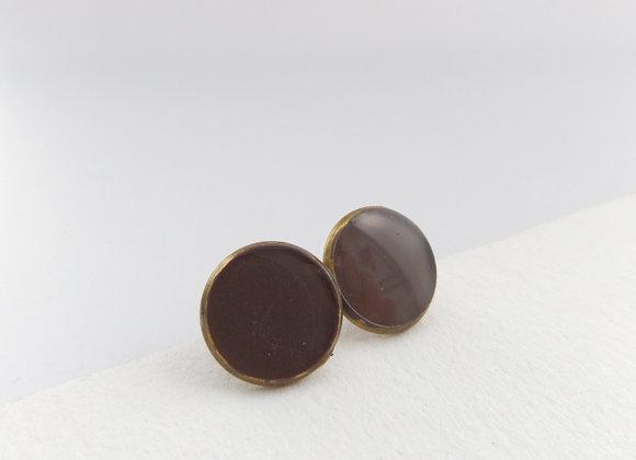 Chocolate Brown Studs, Dark Brown Antique Bronze Stud Earrings, Half Inch