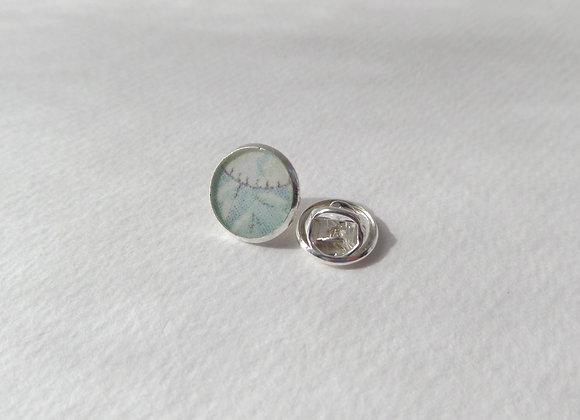Pale Aqua Tie Tack, Silver Clutch Back Brooch Pin, Badge