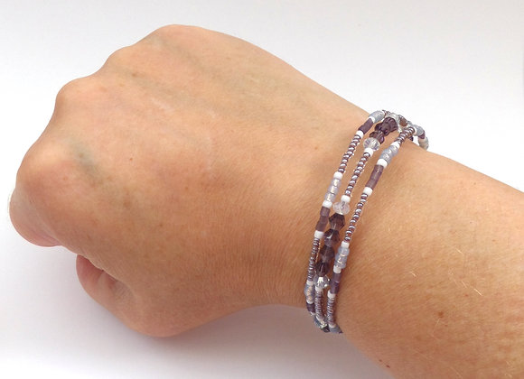 Slim Purple Bangle/Bracelet, Amethyst Crystal, Lilac and White Memory Bangle
