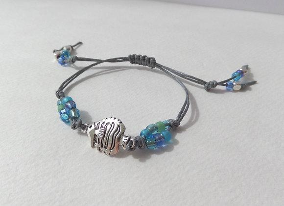 Tropical Fish Bracelet, Grey Cotton Cord Bracelet