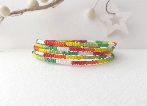 Zesty Citrus Silver Bangle/Bracelet, Opaque Beaded Bangle