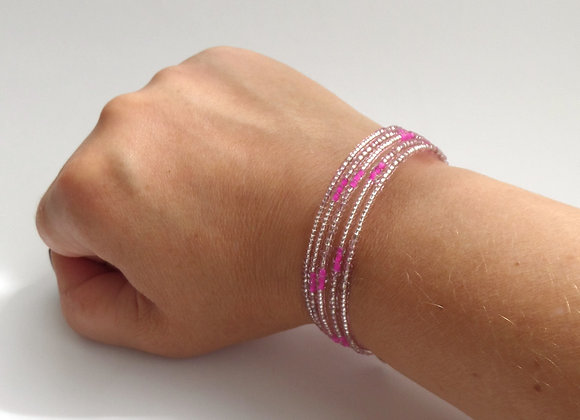 Modern Pink Beaded Bracelet, Hot Pink Memory Bangle