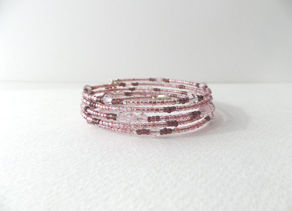 Pink and Burgundy Bracelet, Beaded Memory Bangle