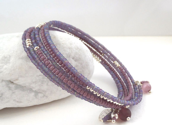 Frosted Purple and Mauve, Silver Pip Bangle/Bracelet