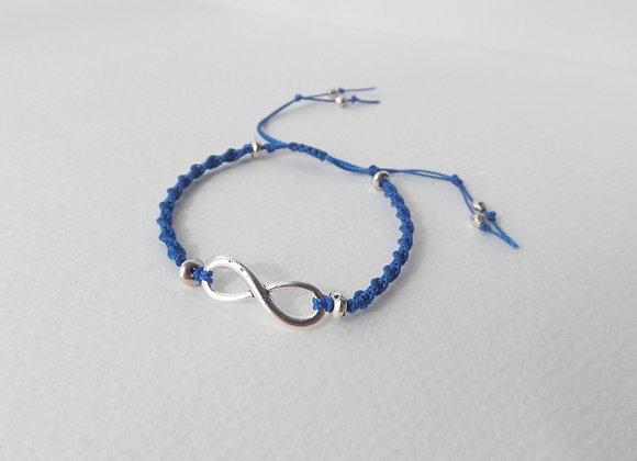 Silver Infinity Symbol Bracelet, Blue Macramé Cord Bracelet, Adjustable