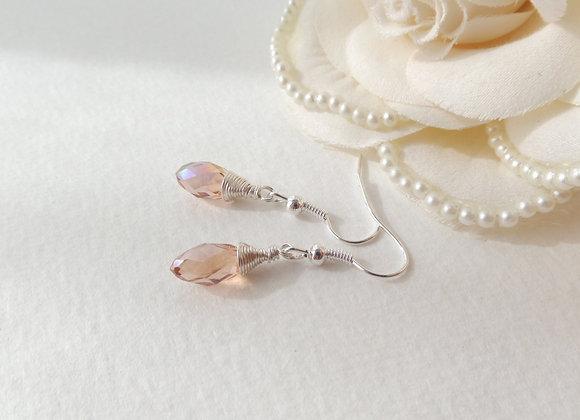 Peach Earrings, Peach-Pink Crystal Briolette, Dangle Silver Earrings