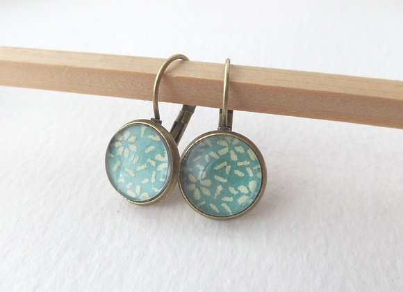 Mint Green Earrings, Antique Bronze Dangle Earrings
