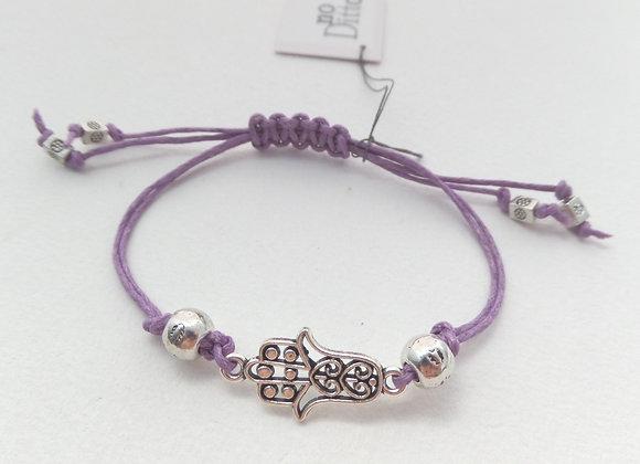 Hamsa Hand Bracelet, Purple Cord Bracelet, Tibetan Silver