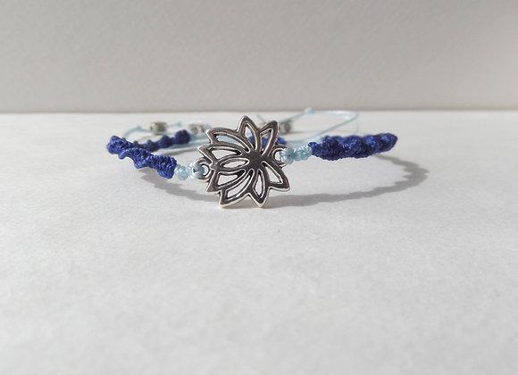 Silver Lotus Flower Bracelet,  Blue Cord Macrame Bracelet