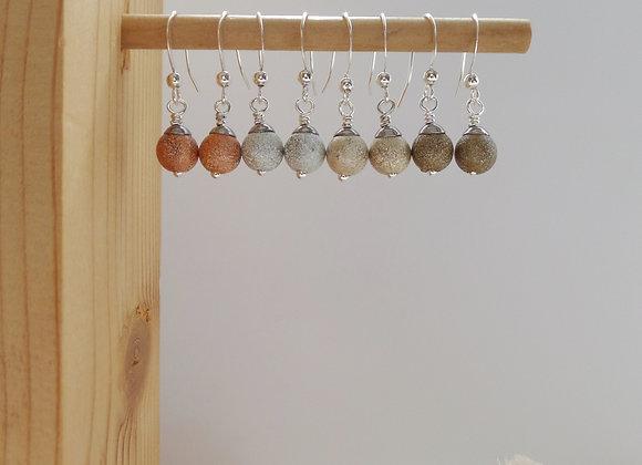 Stardust Earrings, Dangle Silver Hook Earrings