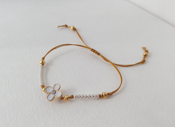Gold Flower Bracelet, Gold Macrame Bracelet.