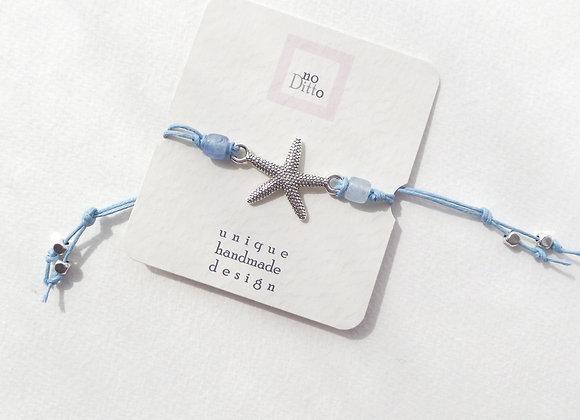 Tibetan Silver Starfish Bracelet, Blue Cotton Cord Bracelet