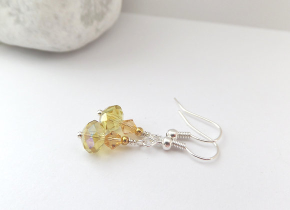 Yellow Earrings, Crystal Dangle Silver Earrings