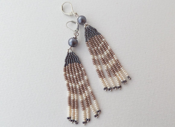 Long Steel, Taupe and Ivory Fringe Dangle Silver Earrings