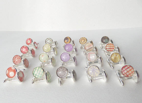 Red Silver Cuff Links, Vintage looking cuff links, choice of patterns