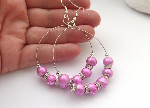 Bright Pink Metallic Bead Hoop Earrings, Silver Hook Earrings.