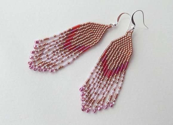 Long Copper and Pink Bead Woven Fringe Dangle Silver Earrings