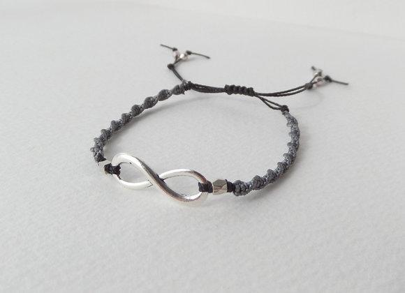 Infinity Symbol Bracelet, Silver and Macramé Cord Bracelet, Adjustable