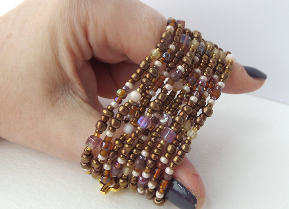 Multi Wrap Stretch Bracelet, Bronze, Brown & Cream Elastic Bracelet