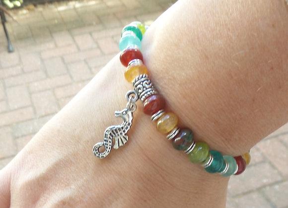 Tibetan Silver Seahorse, Stretch Bracelet, Multicoloured Elastic Bracelet