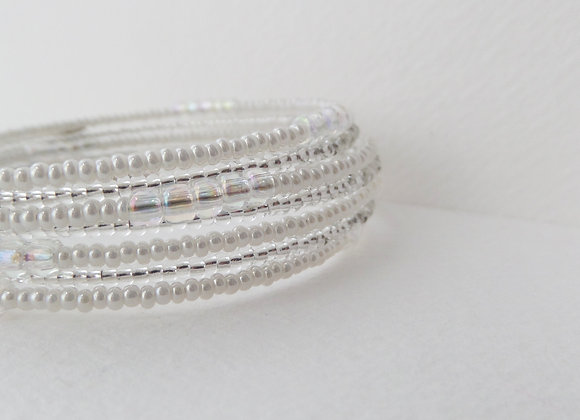 Sparkly Clear and White Minimalist Silver Memory Bangle