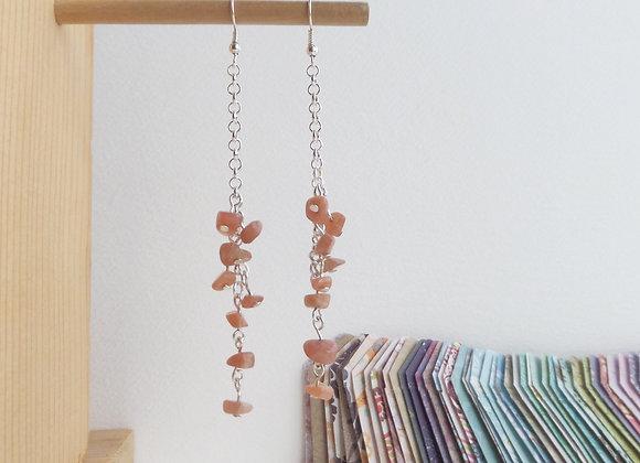 Long Sunstone, Silver Chain Dangle Silver Earrings