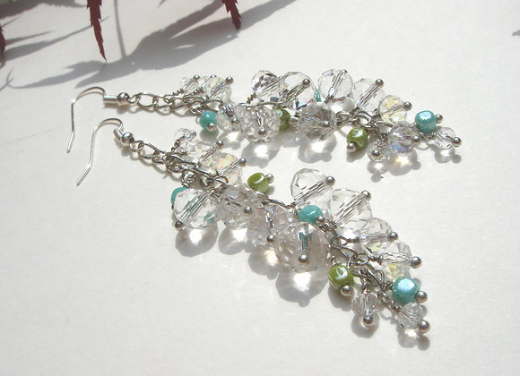 Clear Crystal Long Chain Dangle, Arty Silver Earrings
