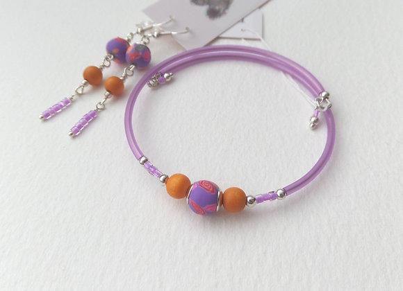 Purple Violet and Orange Silver Bangle/Bracelet Set