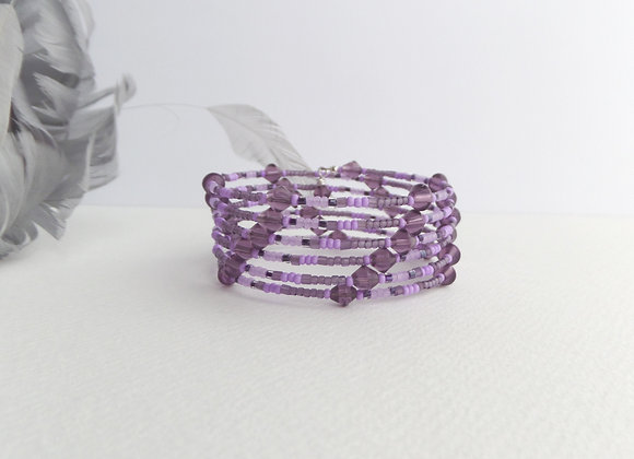 Purple Bracelet, Glass and Seed Bead Memory Bangle