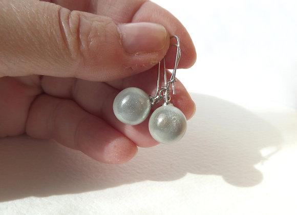 Grey Earrings, Steel Kidney Hook Silver Earrings